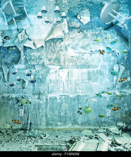 unter Wasser überflutet Interieur. 3D Kreativkonzept Stockbild