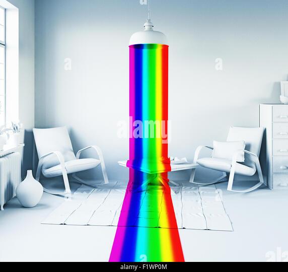 Regenbogen Farbe Licht von der Lampe in einem weißen inneren. Kunst-Stil 3d Konzept Stockbild