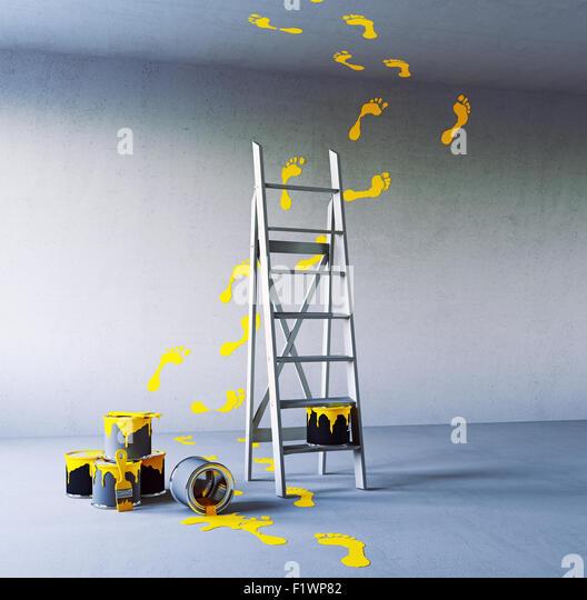 Renovierung-Malerei im Weißen Saal. 3D-Konzept Stockbild