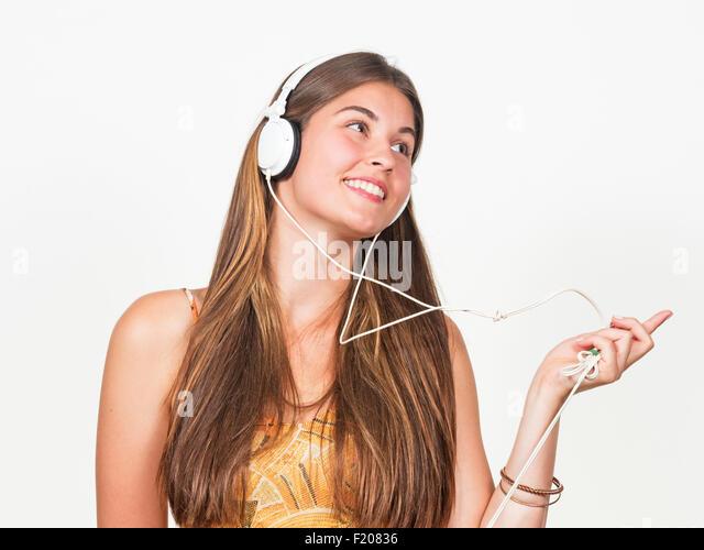 Junge Frau Mit Kopfhörern Stockbild