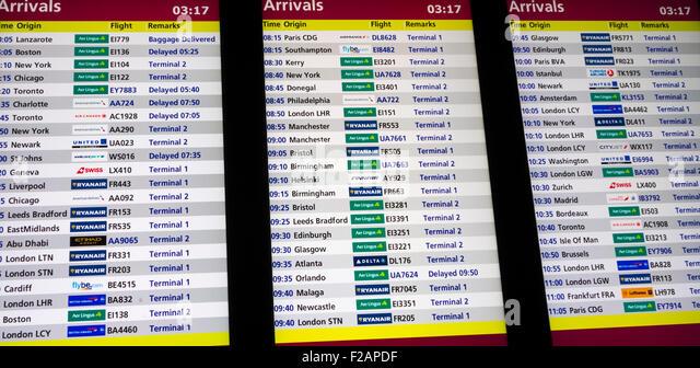 Ankunft anzeigen im Flughafen Dublin Irland, Europa Stockbild