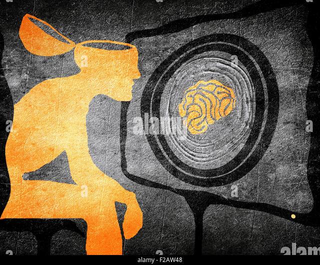 Mann sucht TV waschen Gehirn Illustration Konzept Stockbild