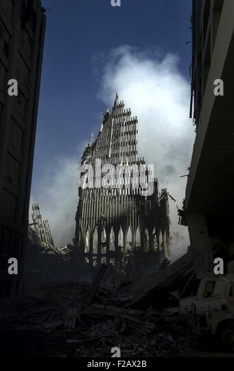 Reste von den Nordturm des World Trade Center, 14. September 2001. New York City, nach dem 11. September 2001 Terroranschläge. Stockbild