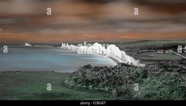 Blick auf die sieben Schwestern Klippen von Birling Gap, South Downs National Park, East Sussex, England, Uk, Gb Stockbild