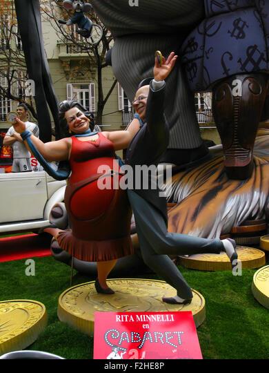 Las Fallas Festival, Valencia, Spanien, eine Cartoon Figur Ninot des ehemaligen Valencia Bürgermeister Rita Stockbild
