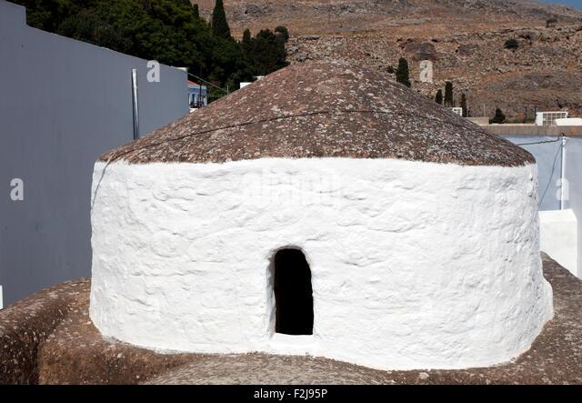 Neugierig Gebäude in Lindos, Rhodos Stockbild