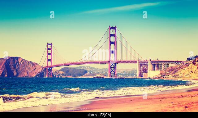 Retro-Stil Foto von Golden Gate Bridge, San Francisco, Kalifornien, USA. Stockbild