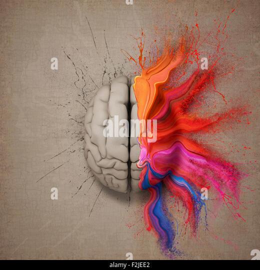 Kreativer Kopf oder Gehirn illustriert mit bunten Farbspritzer und Dispersion. Konzeptionelle Computer Artwork. Stockbild