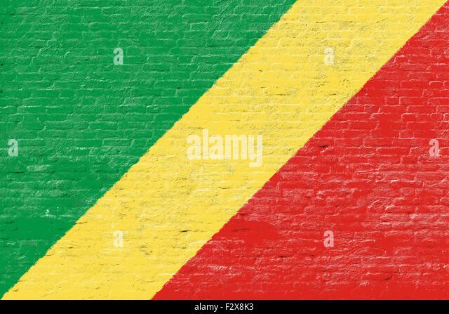 Republik Kongo - Nationalflagge auf Ziegelmauer Stockbild