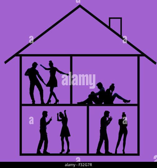 Bild präsentiert die Skizze des lautes Haus Stockbild