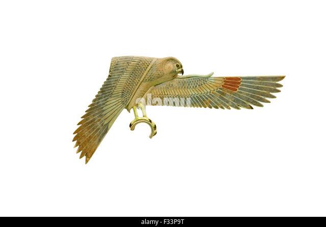 Einlegearbeiten Sie in Form eines Falken aus einem Schrein aus dem alten Ägypten aus dem ptolemäischen Stockbild