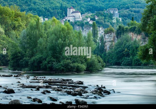 der Fluss Lot bei St Cirque Lapopie, Quercy, Frankreich Stockbild
