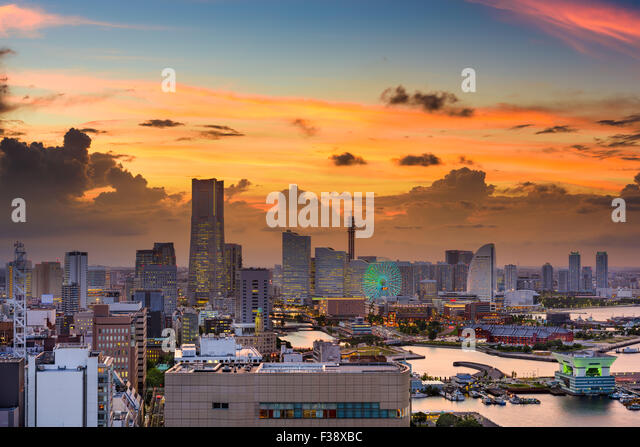 Yokohama, Japan Stadt Skyline. Stockbild