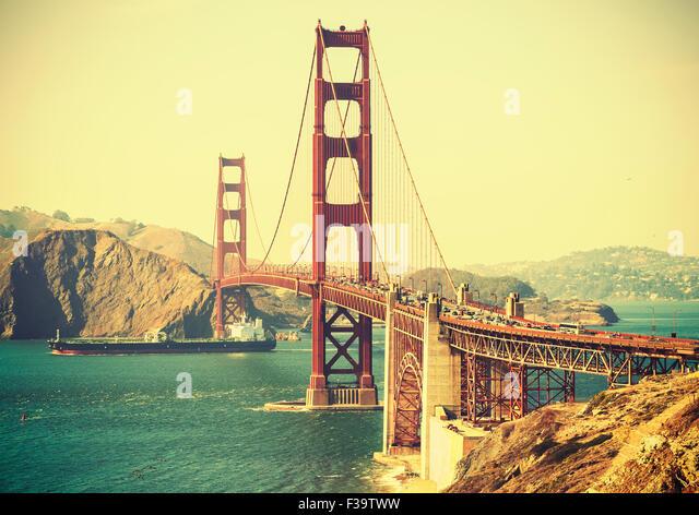 Alte film Retro-Stil Golden Gate Bridge in San Francisco, USA. Stockbild