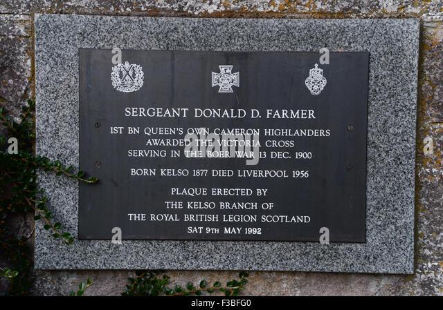 Plaque Commorating Sergeant Donald D. Farmer VC in Kelso Stockbild