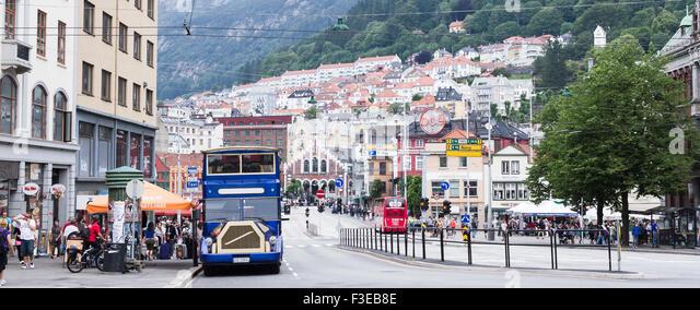 Straßenbild von Bergen, Norwegen. Stockbild