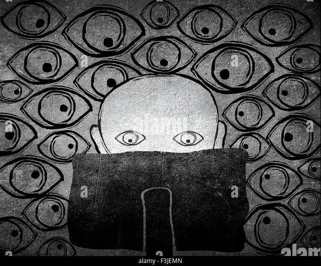 keine Privatsphäre Konzept schwarz-weiß digitale illustration Stockbild
