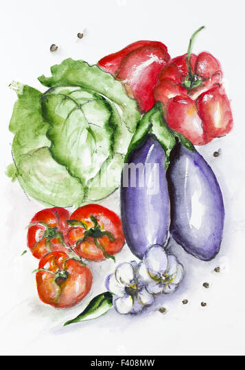 Aquarell Gemüse set Stockbild