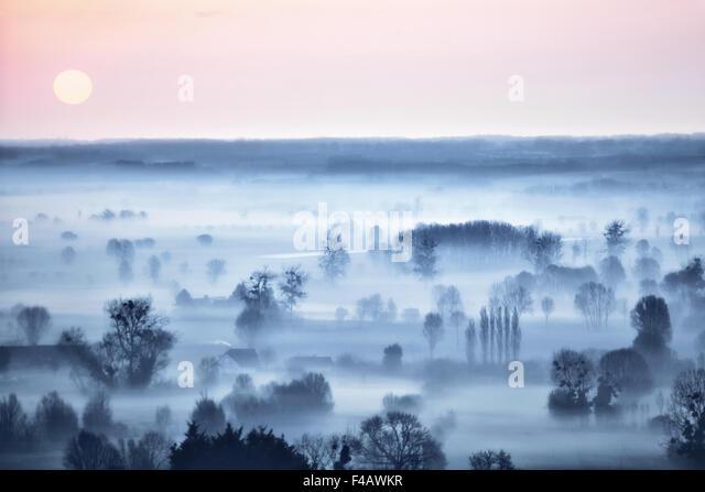 Blick vom Mont-Dol, Bretagne, Frankreich Stockbild