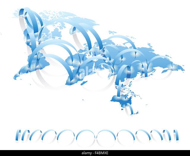 Welt Karte Verbindungen Konzept Stockbild