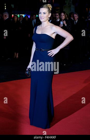 Kate Winslet kommt auf dem roten Teppich für das London Film Festival closing Gala Screening und UK-Premiere Stockbild