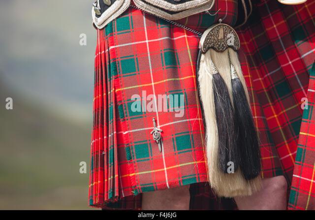 Kilt von einem schottischen Piper, Glencoe, Schottland, Vereinigtes Königreich, Europa Stockbild