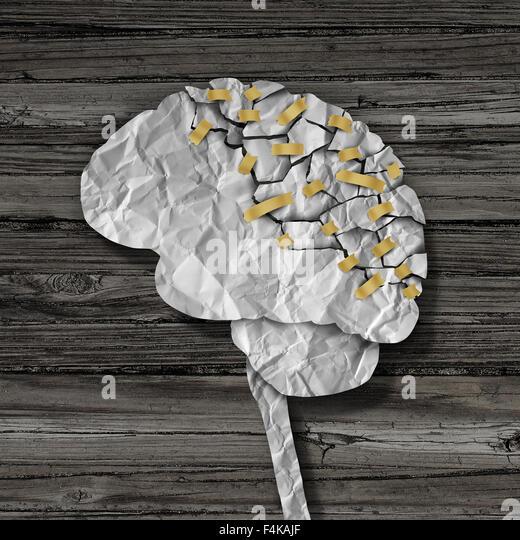 Gehirn-Rehabilitation und psychische Gesundheit Therapiekonzept als eine gebrochene gerillter geprägt als die Stockbild