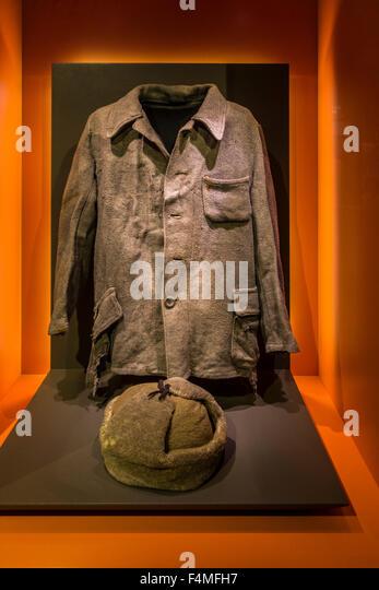 Sowjetische Gefangene Kleidung von Sachsenhausen Nazi Konzentration Lager in Oranienburg, Deutschland, Mémorial Stockbild