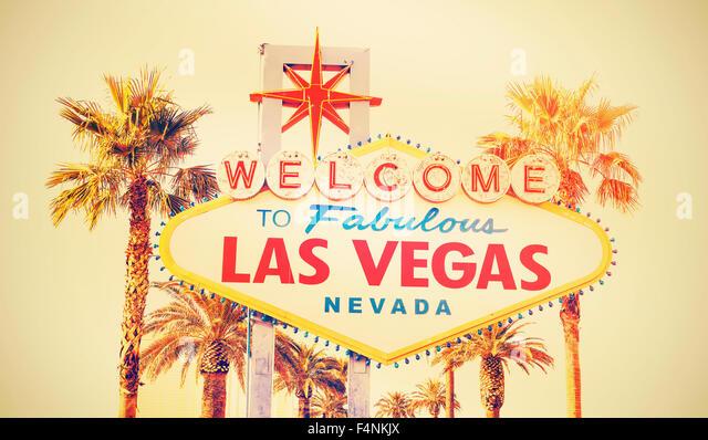 Retro-Cross Entwicklung Foto des Zeichens Welcome To Las Vegas, USA. Stockbild