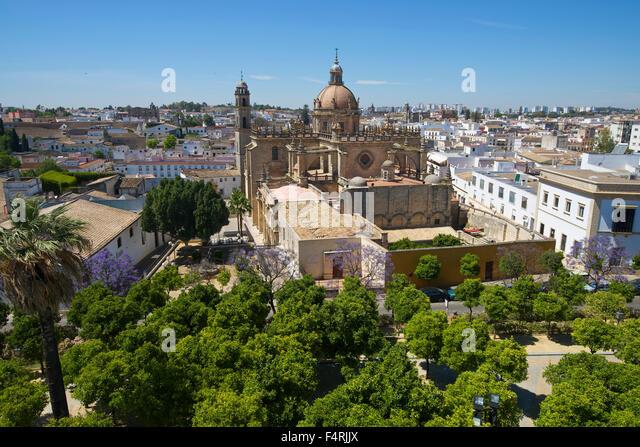 Andalusien, Spanien, Europa, draußen, Tag, Jerez De La Frontera, Costa De La Luz, niemand, Blick auf die Stadt, Stockbild