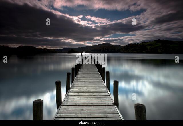 Parkamoor Steg auf Coniston Water, Lake District, Cumbria, England, Uk, Gb. Stockbild