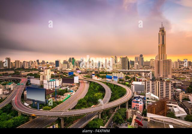 Bangkok, Thailand Stadtbild mit Autobahnen. Stockbild