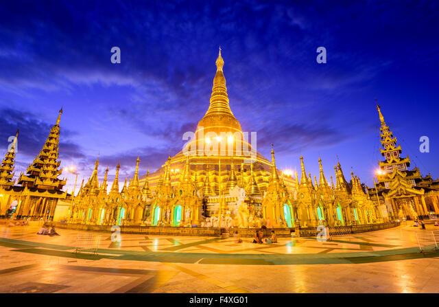Shwedagon-Pagode in Yangon, Myanmar. Stockbild