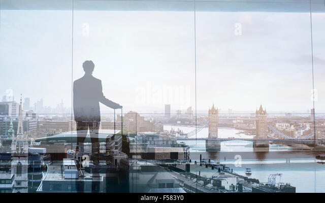 Doppelbelichtung Ansicht des abstrakten Geschäftsreisenden Stockbild