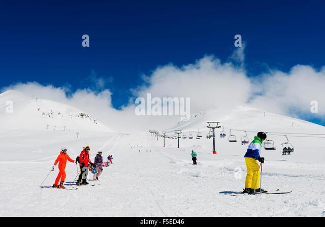 Skifahrer in Gudauri Ski resort, Georgia, Caucasus Region, Zentral-Asien, Asien Stockbild