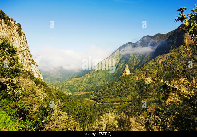 Valle de Hermigua, Parque Nacional de Garajonay, UNESCO-Weltkulturerbe, La Gomera, Kanarische Inseln, Spanien, Europa Stockbild