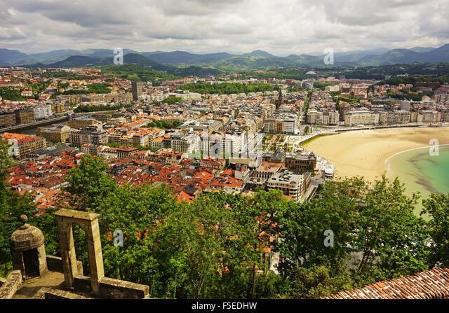 Blick auf San Sebastian aus Monte Urgull, Baskisches Land, Spanien, Europa Stockbild