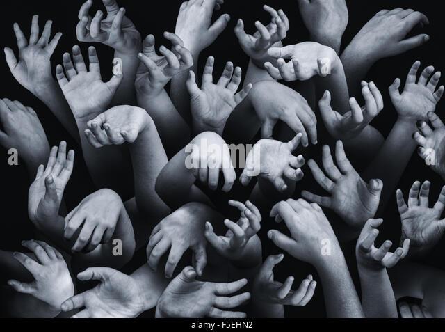 Nahaufnahme der Hände ausstrecken Stockbild