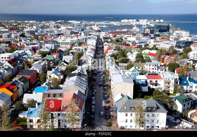 Luftaufnahme von Reykjavik, Island Stockbild