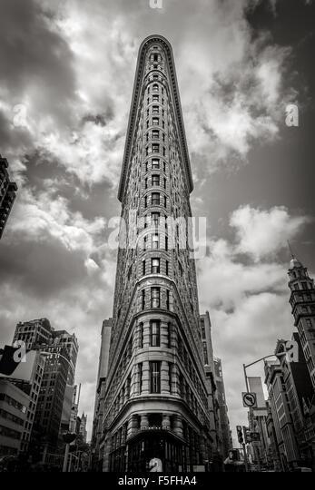 Vertikale New York: das Flatiron Building. Einer der ersten Wolkenkratzer von New York City, es befindet sich im Stockbild