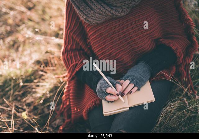 Frau im Notizbuch schreiben Stockbild