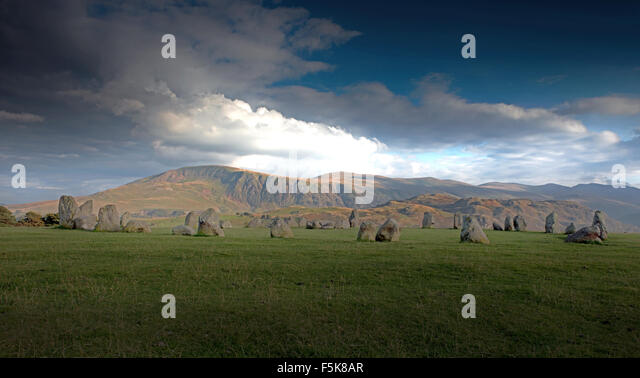 Castlerigg Steinkreis in der Nähe von Keswick, Lake District, Cumbria, England, Uk, Gb Stockbild