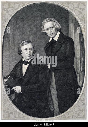 Brüder Grimm - Wilhelm Grim (1786-1859) links und rechts Jacob Grimm (1785-1863). Siehe Beschreibung für Stockbild