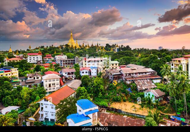 Skyline von Yangon, Myanmar. Stockbild
