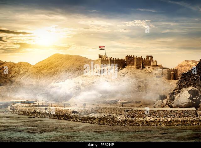 Insel der Pharaonen in Taba im sunrise Stockbild