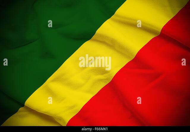 Wellig und wellige Nationalflagge der Republik Kongo Hintergrund. Stockbild