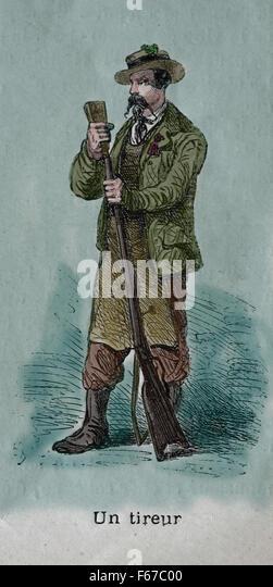 Schütze. Schweizer. Gravur. Farbe. des 19. Jahrhunderts. Stockbild
