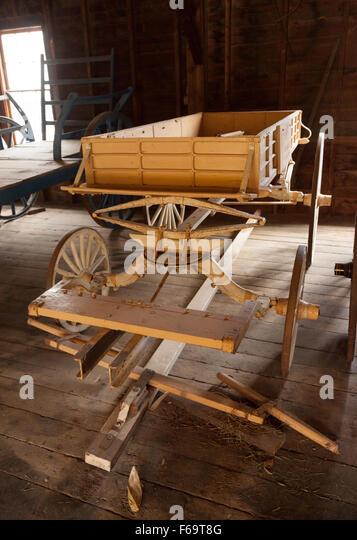 Eine ausdrückliche Wagen aus den 1800er Jahren auf einem Bauernhof, Billings Farm, Woodstock, Vermont USA verwendet Stockbild