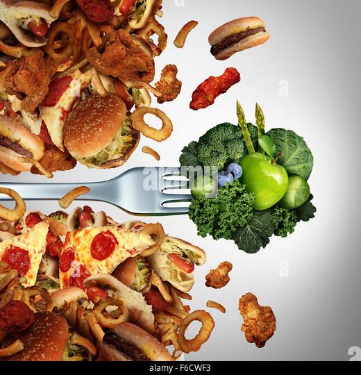 Gesundheit Diät Durchbruch Ernährungskonzept als eine Gabel mit grünen gesundes Obst und Gemüse Stockbild