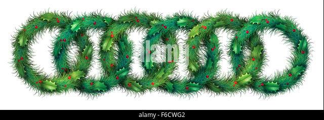 Urlaub Kranz Muster Bordürenmuster als grafisches Element auf einem weißen Hintergrund mit runden immergrünen Stockbild